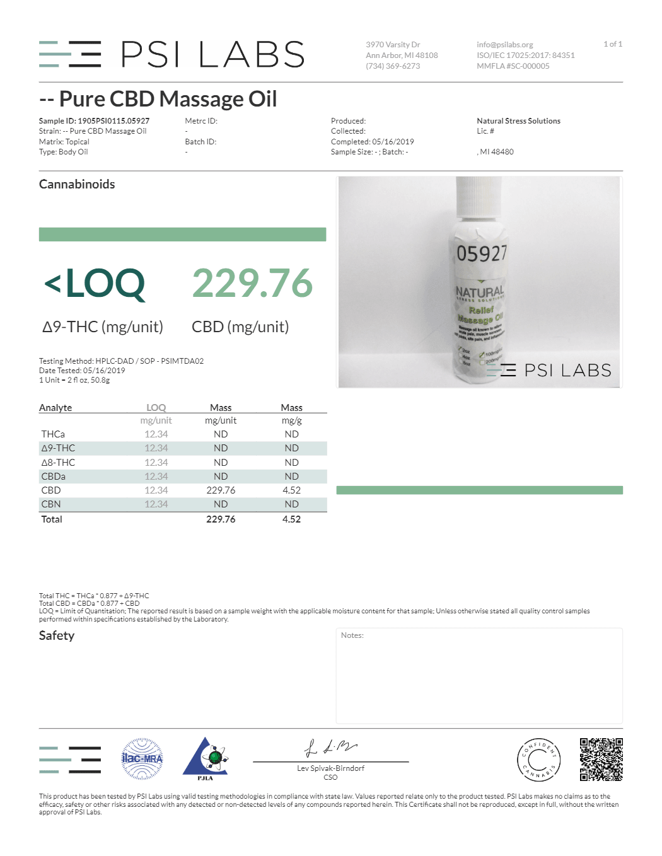 Pure CBD Massage Oil