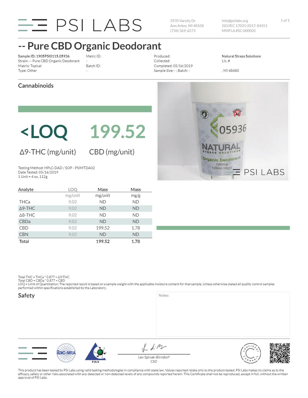 Pure CBD Organic Deodorant
